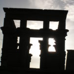 Silhouetted Egyptian Temple