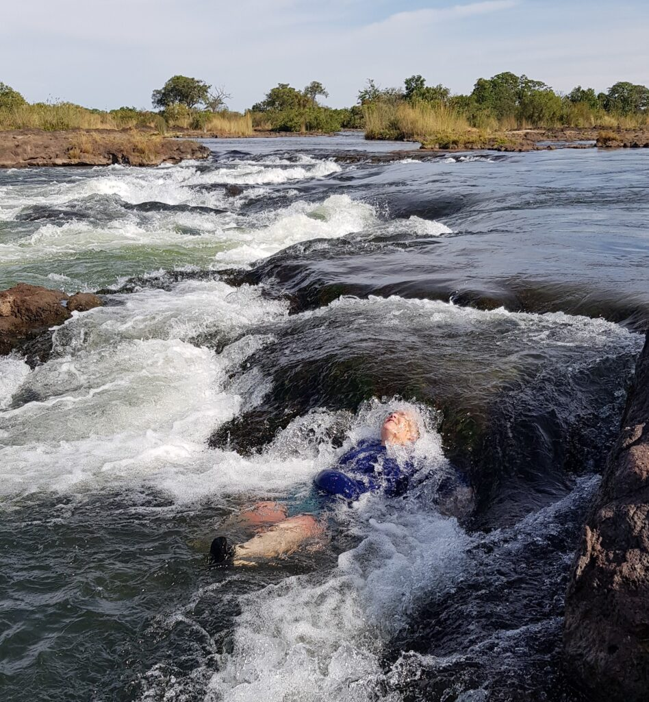 swimming in the Zamezi River