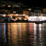 Illuminated Batsi on Andros Island