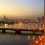 Illuminated Nile in Cairo