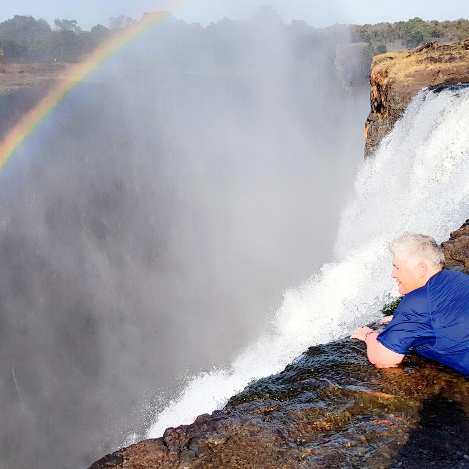 Peering over the edge of Victoria Falls