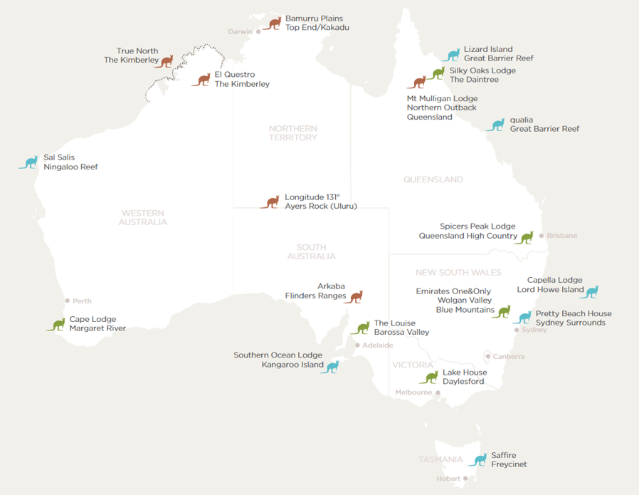 map of Australia with the location of each Luxury Lodge