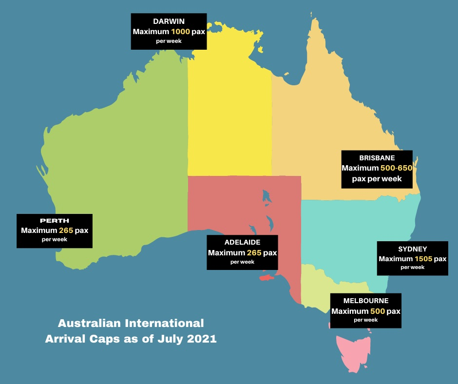 Map of Australia showing the weekly limits on maximum inbound passenger numbers